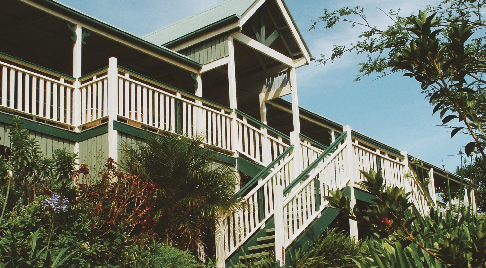 A green two storey treehouse